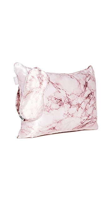 Slip 粉色大理石纹旅行套装