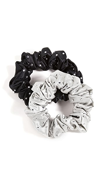 Slip Pack of 2 Large Crystal Scrunchies