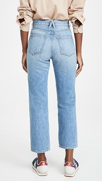 SLVRLAKE London Crop High Rise Straight Leg Jeans