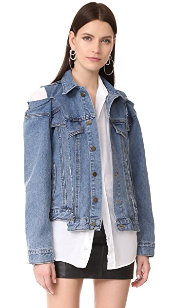 Style Mafia Cold Shoulder Denim Jacket