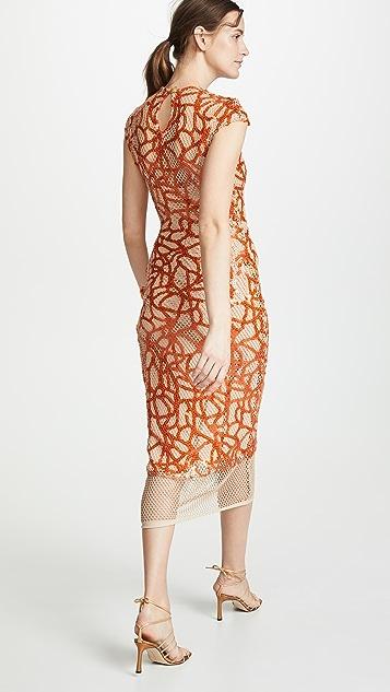 Sandra Mansour Sleeveless Embroidered Dress