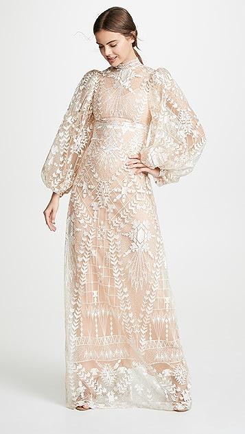 Sandra Mansour Платье с длинными рукавами из тюля