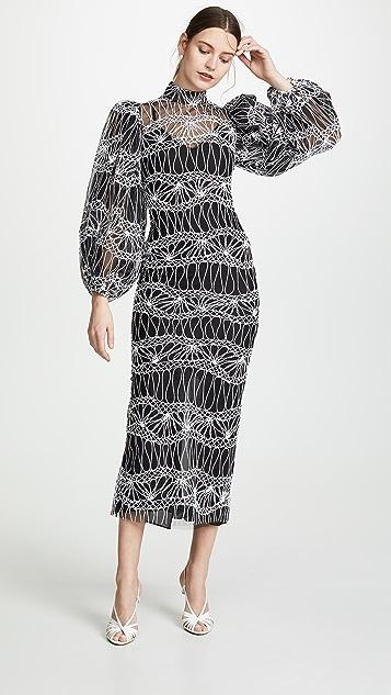 Sandra Mansour Платье из тюля с объемными рукавами