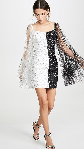 Sandra Mansour Мини-платье из блестящего тюля и шелка микадо