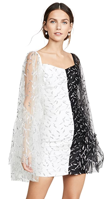Sandra Mansour Glitter Tulle and Mikado Mini Dress