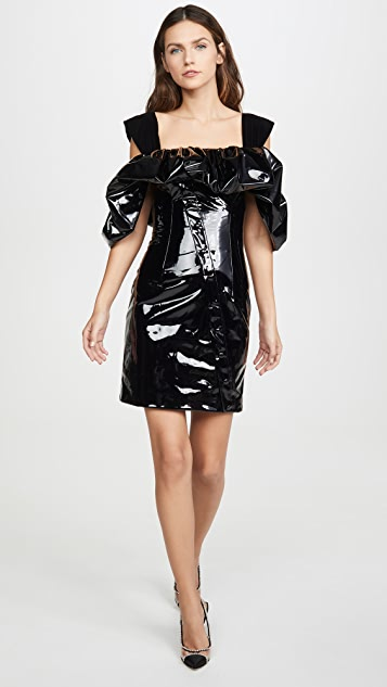 Sandra Mansour Patent Ruffled Mini Dress