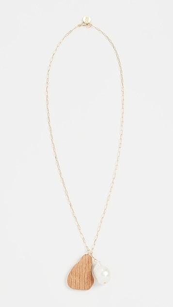 Sophie Monet The Baroque Wood Drop Necklace