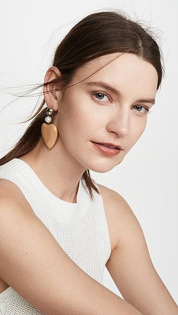 Sophie Monet 枫木蓝色心形耳环