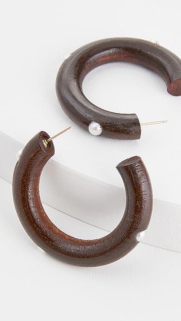 Sophie Monet 珍珠木质圈式耳环