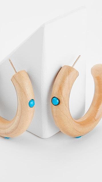 Sophie Monet 绿松石木纹圈式耳环