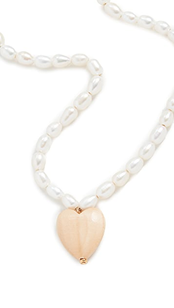 Sophie Monet Pearl Heart Necklace