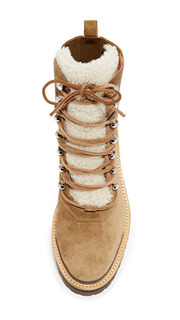 Sigerson Morrison Isa Shearling Lace Up Booties