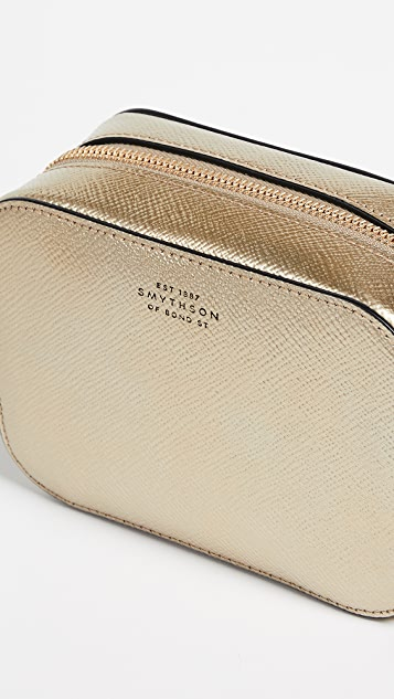 Smythson Panama Mini Camera Bag with Leather Strap