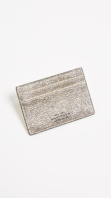 Smythson Metallic Leather Flat Card Holder