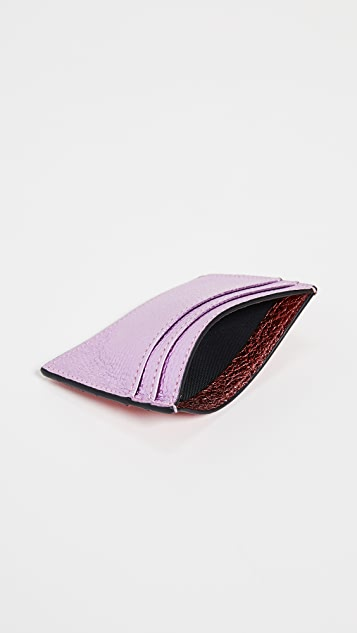 Smythson Metallic Leather Flat Card Holder