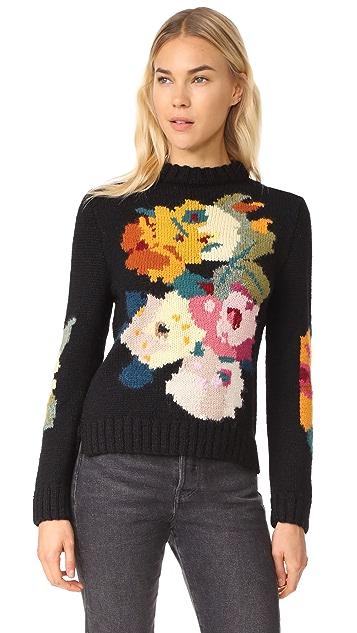 SMYTHE Alpaca Floral Intarsia Sweater