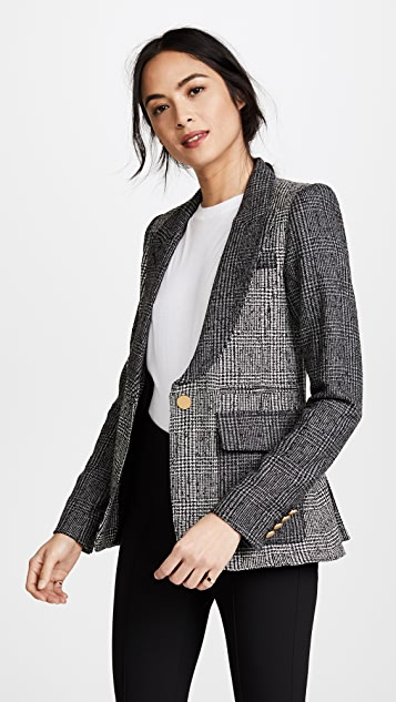 SMYTHE Mixed Plaid Peaked Lapel Blazer