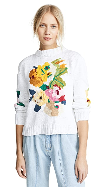 Floral Intarsia Crew Sweater by Smythe