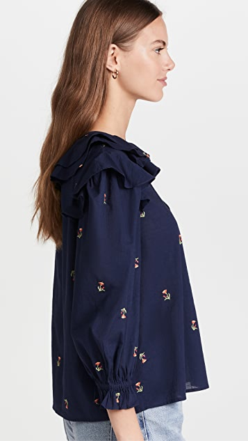 Something Navy Embroidered Ruffle Top