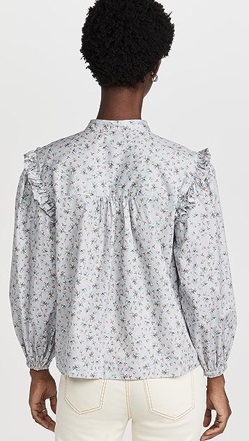 一抹海军蓝 花卉荷叶边衬衫