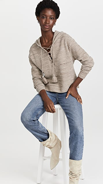 Something Navy Textured Lace Up Hoodie