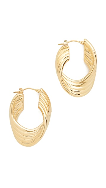 Soave Oro Polished Twisted Hoop Earrings