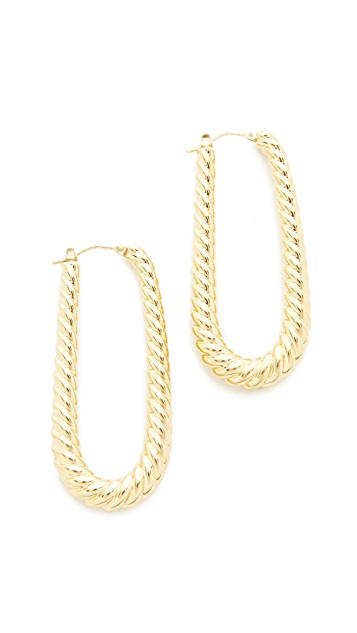 Soave Oro Elongated Ribbed Hoop Earrings