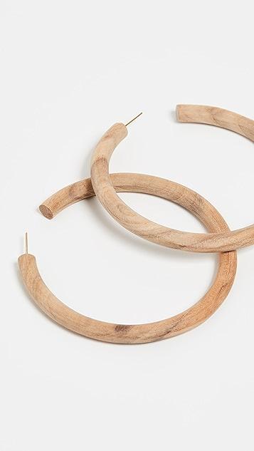 Soko Arlie Maxi Wood Hoop Earrings