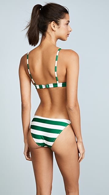 Solid & Striped The Morgan Emerald Stripe Bikini Top