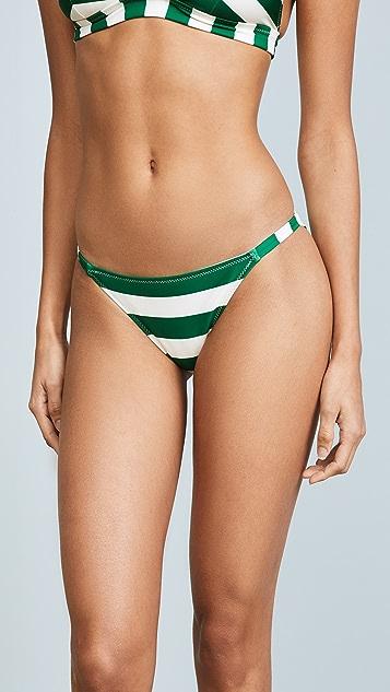Solid & Striped The Morgan Emerald Stripe Bikini Bottoms - Emerald Stripe