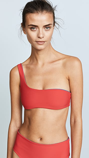 Solid & Striped Reversible Swim Team Isabeli Bikini Top