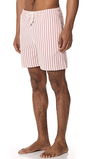 Solid & Striped The Classic Peach Santorini Stripe Trunks