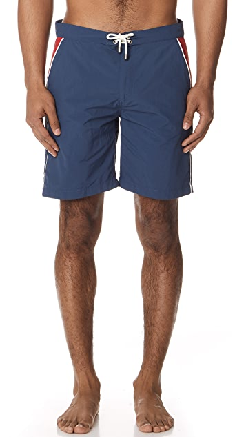 Solid & Striped Board Shorts Piped Navy & Red
