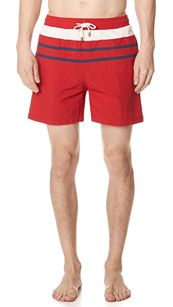Solid & Striped The Classic Red Trunks with Stripes
