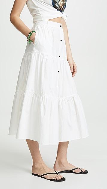 Solid & Striped Длинная юбка из ткани в рубчик