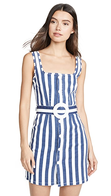 Solid & Striped Button Up Dress with Belt