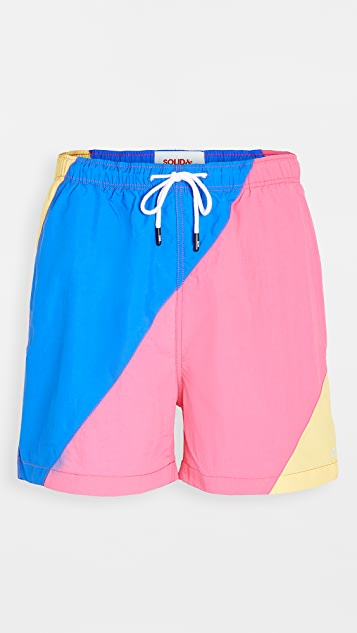 Solid & Striped The Classic Colorblock Blue Fuchsia Yell Swim Shorts