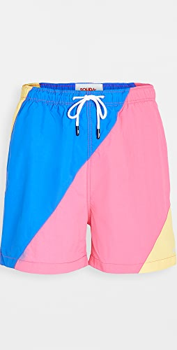 Solid & Striped - The Classic Colorblock Blue Fuchsia Yell Swim Shorts