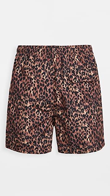 Solid & Striped The Classic Leopard Print Swim Trunks