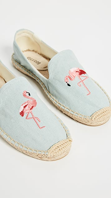 Soludos Flamingo Smoking Slipper Espadrilles