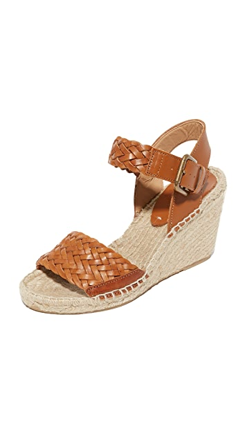 Soludos Woven Leather Wedge Espadrilles