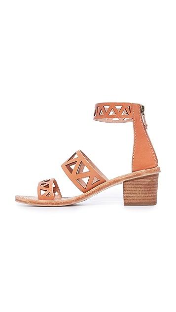 Soludos Geo Laser Cut Mid Heel Sandals