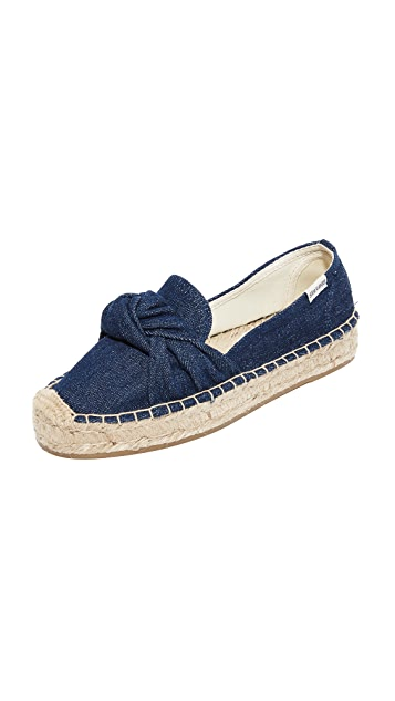 Dark Denim Soludos Knotted Platform Smoking Slippers