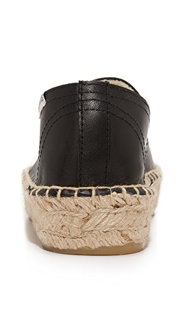Soludos Platform Leather Smoking Slippers