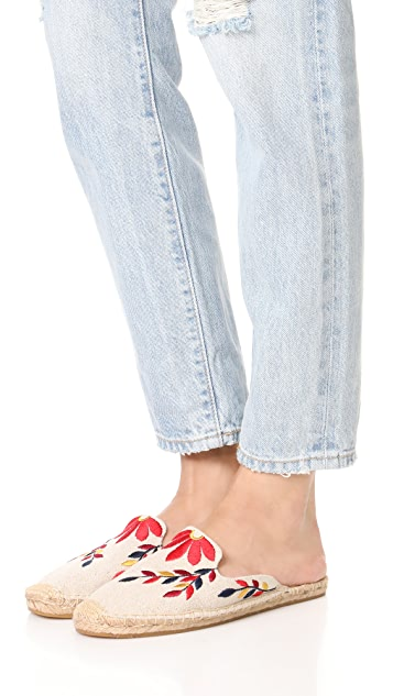Soludos Туфли без задников с вышитым цветочным рисунком