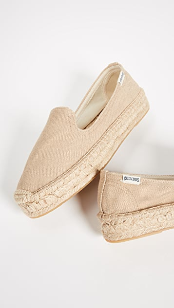 Soludos Platform Canvas Smoking Slipper