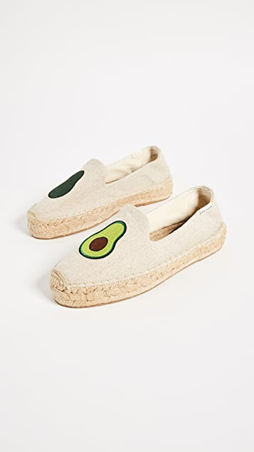 Soludos Avocado Platform Smoking Slippers