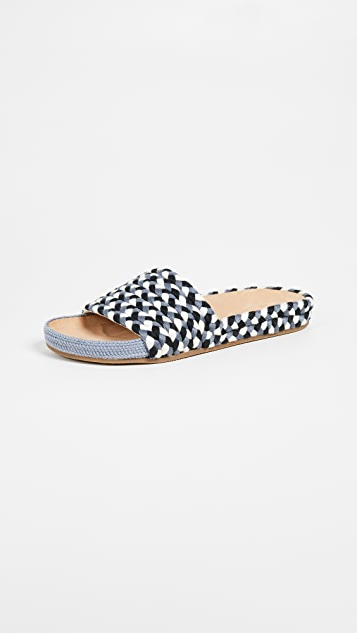 Soludos Braided Pool Slides - Blue Multi