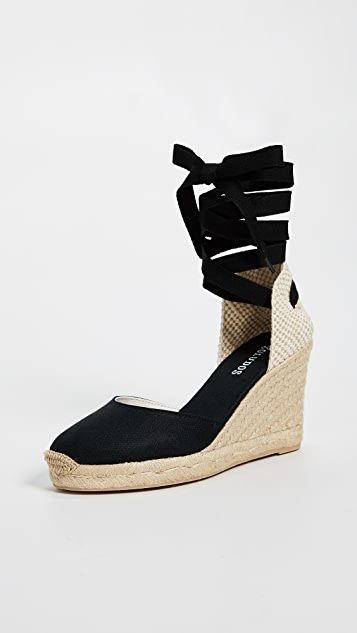 Soludos Tall Wedge Espadrilles - Black