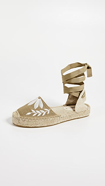 Soludos Embroidered Floral Sandals